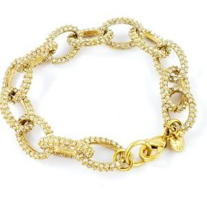 J. Crew Bracelet Open Pave Rhinestone Links Gold